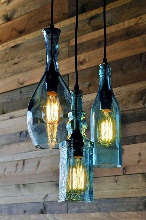 riciclo bottiglie vetro lampada